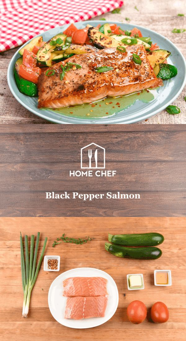 We've been on a hot honey kick at Home Chef HQ and once you taste this, you'll be in full agreement. The combination of red pepper flakes, honey, and butter pairs perfectly with the flakey, delicate salmon that's seasoned heavily with black pepper. With a side of thyme-flavored zucchini and tomatoes, we plan on spreading the hot honey gospel for menus to come.