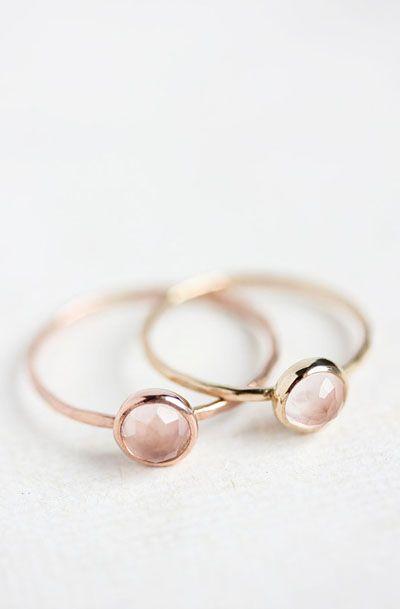Rose quartz and 14k rose gold ring