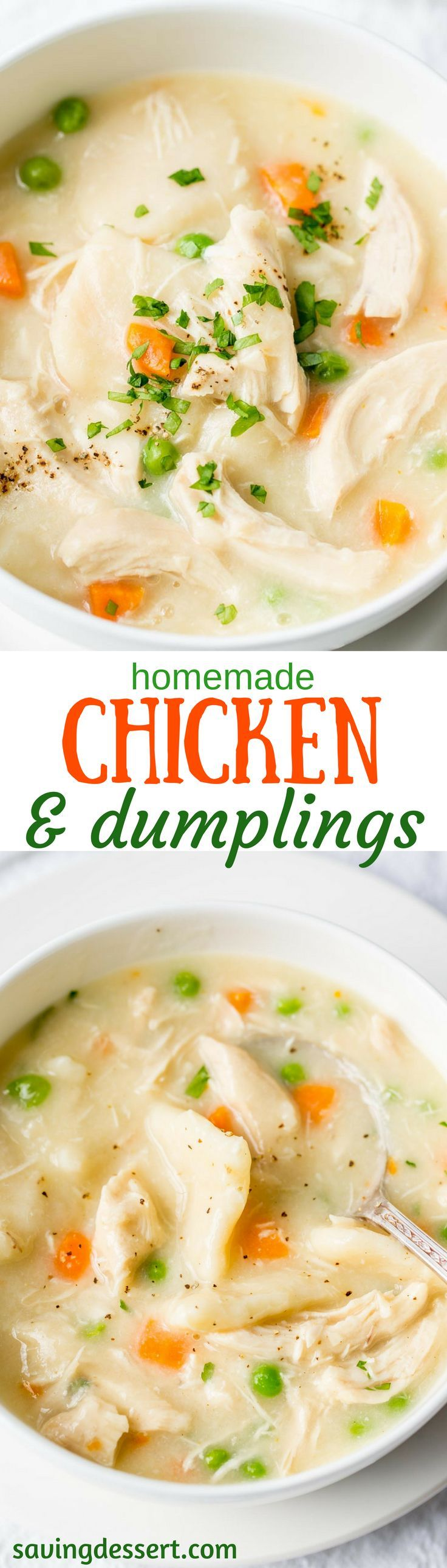 Homemade Chicken and Dumplings ~ a deliciously rich homemade chicken stock is used for the base of this warming, healing pot of pure southern comfort food.