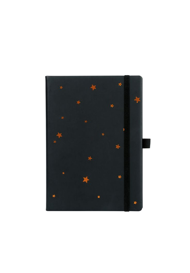 The ideal gift for writers, this stylish notebook is just the right size for a handbag. Or keep beside the bed for jotting down thoughts and dreams. • 15.3cm x 21.5cm. • Lined with numbered pages and an elasticated pen holder. • Soft touch, hard cover with foiled star print.