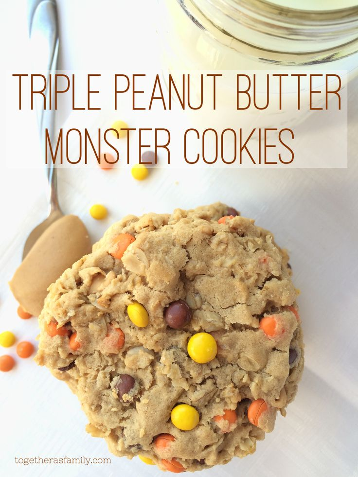 Triple Peanut Butter Monster Cookies- a peanut butter lovers dream! Big, thick, chewy, and soft cookies. www.togetherasfamily.com