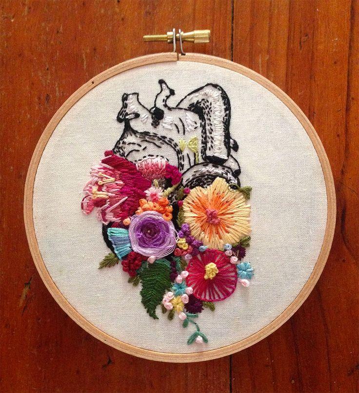 Inspire-se nesses bordados anatômicos e florais de InherentlyRandom | IdeaFixa