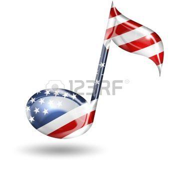 cle de sol: note de musique avec les couleurs du drapeau américain sur fond blanc Banque d