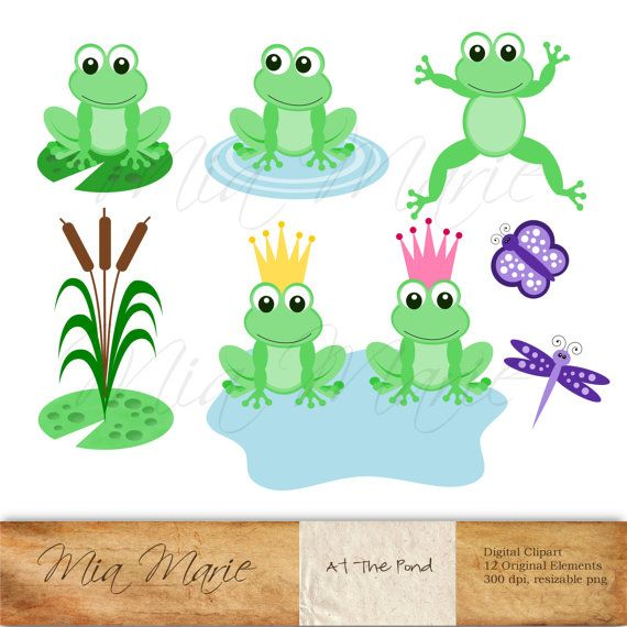 INSTANT DOWNLOAD - Digital Clip Art Frog Clip Art, Frog Clipart, Princess Clip Art, Princess Clipart, Butterfly, Dragonfly, Insect. $4.50, via Etsy.