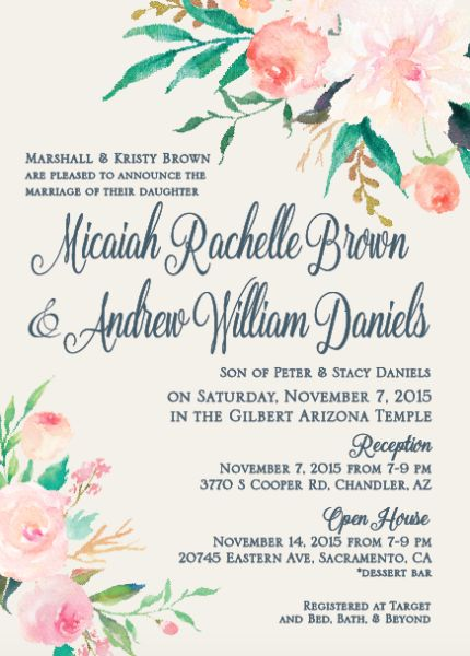 136 best LDS Wedding Invitations images on Pinterest Bridal