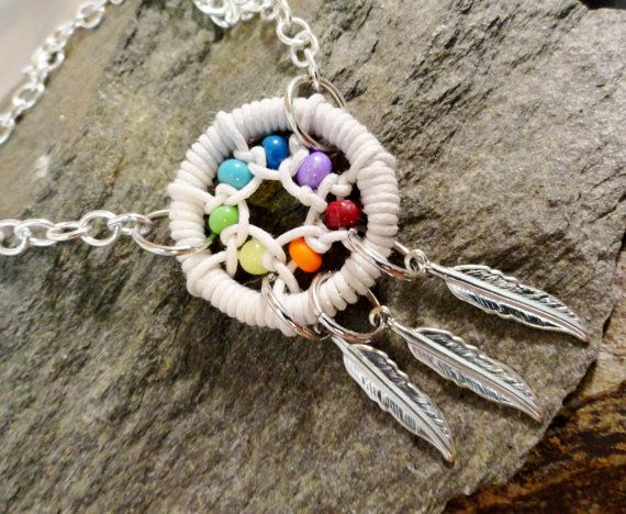Rainbow Dream Catcher Anklet / Bracelet with by MidnightsMojo, $20.00