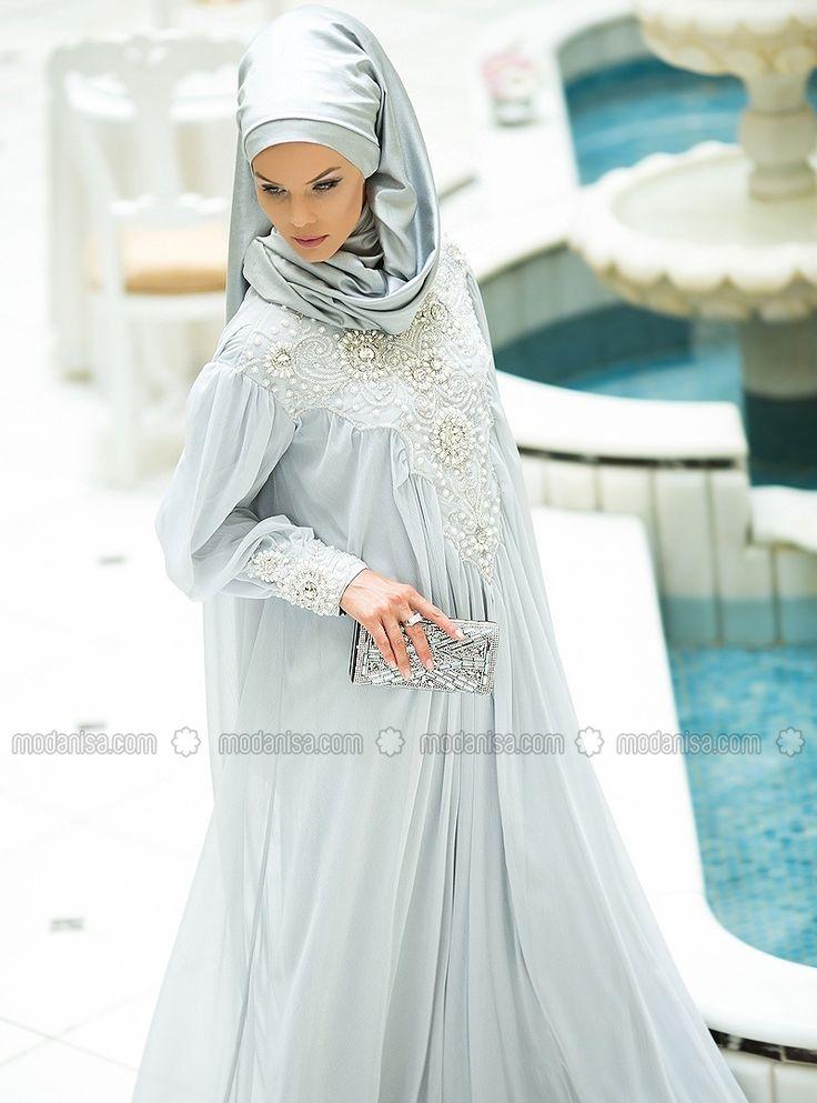 Украшенные Вышитые Вечернее платье - Серый - Мусульманские Вечерние платья - Modanisa