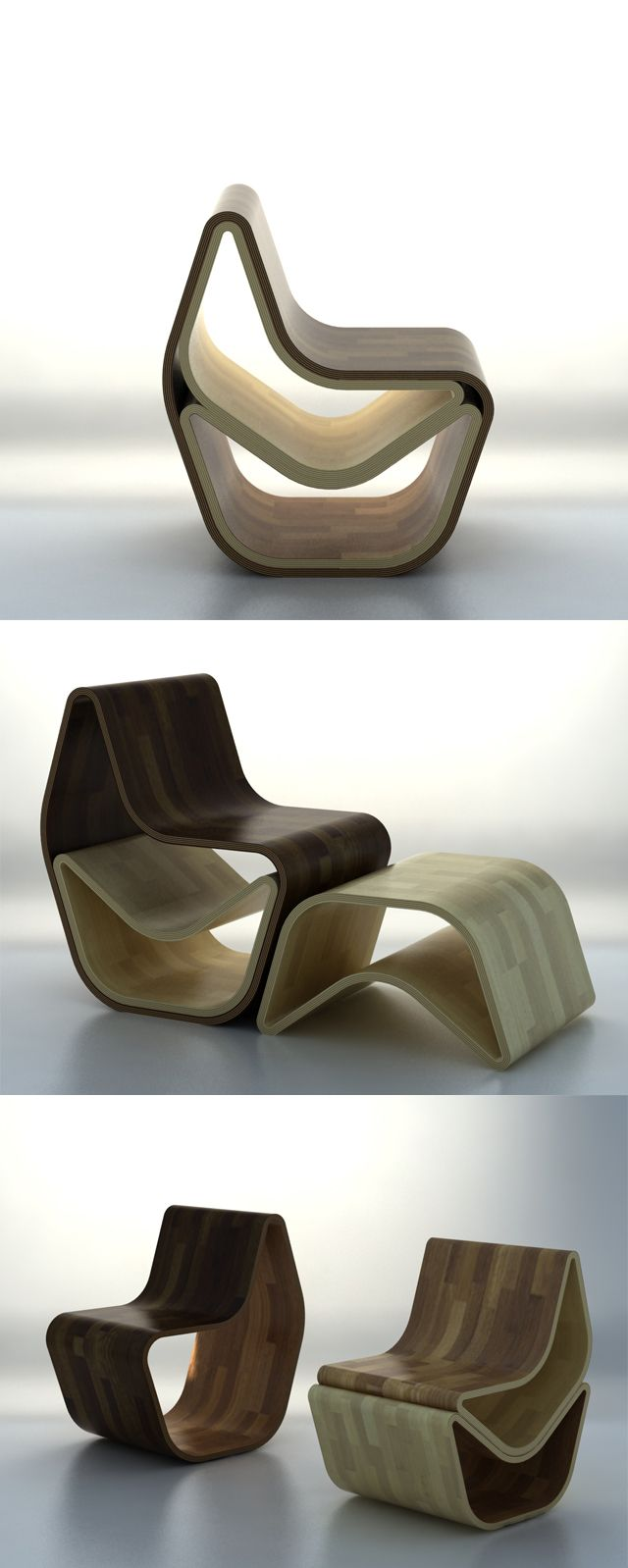 The GVAL Chair, by OOO My Design, is as multifunctional piece that can be (are you ready for it?) a chair, a chair with a footrest, a chair with a footrest & a stool, two chairs, or a chair and two stools. Inspired by the rings of a tree that represent age, the GVAL is made from alternating sheets of bent plywood that create a similar ring-like pattern.