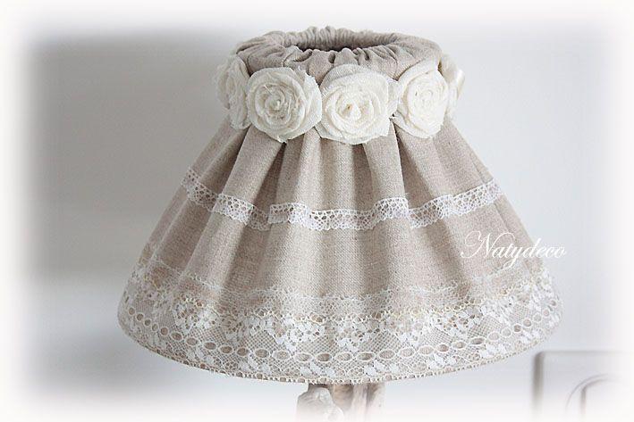 Nouvelle création abat jour en lin et dentelle qui s'accorde bien avec le coussin en dentelle NATYDECO  En vente sur http://www.natydecocorse.com