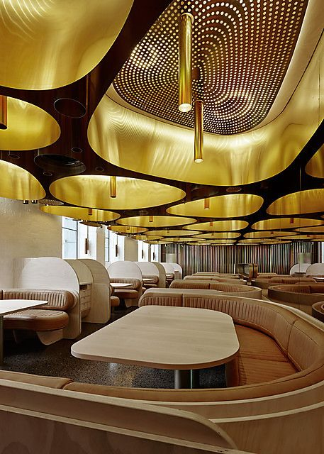 Unique ceiling design.