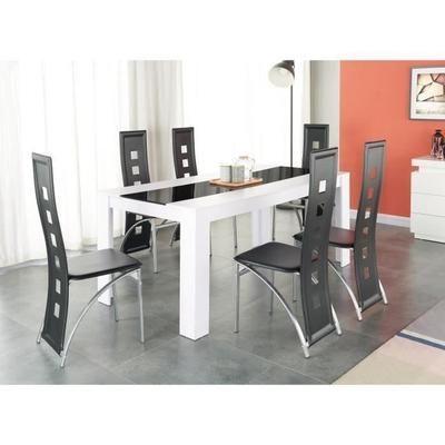 1e2223e2c6d DAMIA Ensemble table à manger 6 à 8 personnes + 6 chaises contemporain blanc  et verre