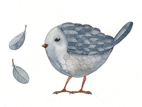 Bird No.30 - Watercolor Bird Art Print Limited Ediction - Original Painting by Lorisworld via Etsy