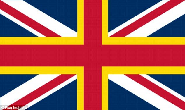 The yellow fimbriation is simply adding the gold cross of the Welsh St David flag to the existing union flag