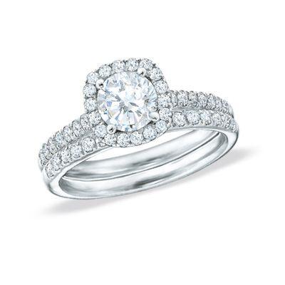tw diamond frame bridal set in 14k white gold - Zales Wedding Rings Sets