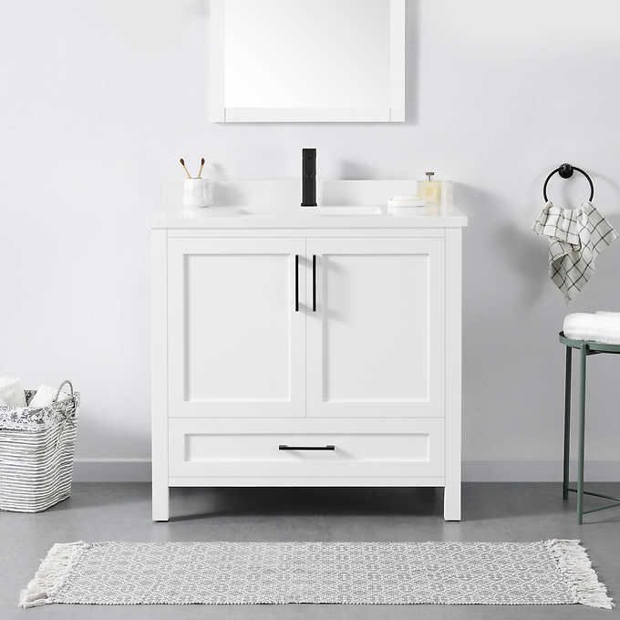 Lillian Stone Gray Cabinets With White Cultured Marble Grey