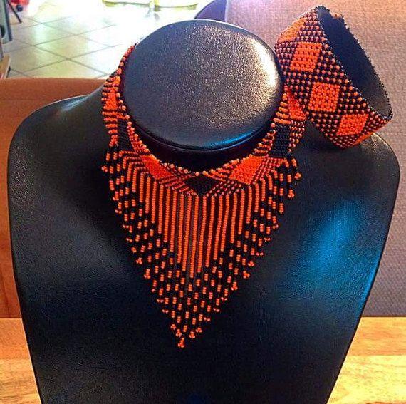 Zulú gargantilla brazalete y pendientes conjunto. por ZuluBeads