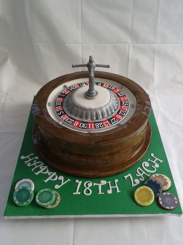 Roulette Wheel Cake with wood effect and chips made by Lara's theme Cakes