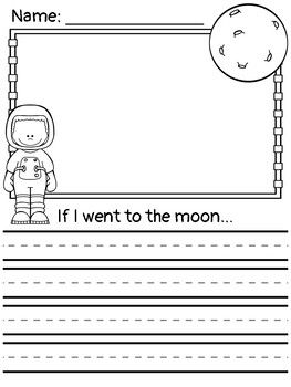 Free space- themed writing prompts. Perfect no prep writing activity for kindergarten, first, or second grades. Includes 4 different prompts with boy and girl astronaut options. If I went to the moon... If I went to space... If I met an alien... Blank page w/ astronaut pictures