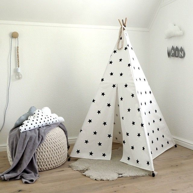 If you already love our Kids' Tipi (as well as the other black and white kids' stuff we have), you will LOVE this! Introducing a new variant of the tipi: The Black & White Star Print Kids' Tipi. It is so perfect for a monochrome kids' room and works great with almost all of the other products in our Kids' Collection. Link in profile. (I'm excited, how about you?) #monochrome #kidsrooms #scandinavianinteriors #kidstipi