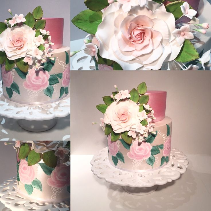 Cake with hand painted pink roses