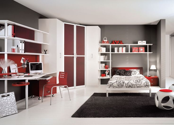 modern black rug also corner wardrobe cabinet idea and red computer chair on simple teen room