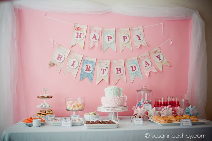 Tea party birthday banner.