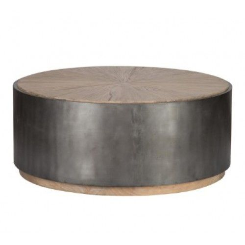 Wrought Iron Black Base Starburst Design Wood Top Drum Coffee Table Drum Coffee Table Modern Coffee Tables Black Coffee Tables