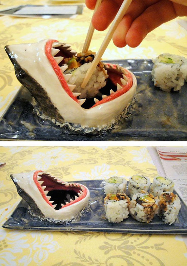 Shark sushi plate! The shark mouth is for soy sauce. Incredible!