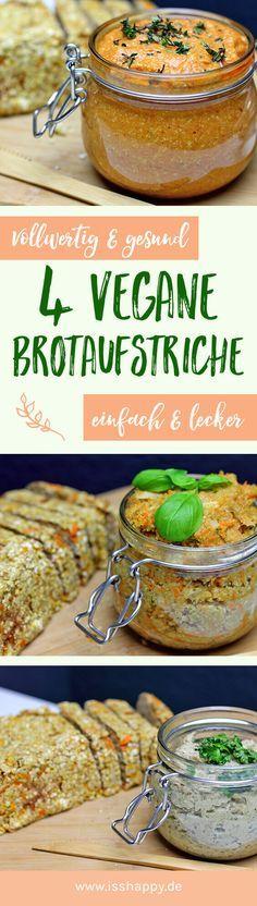 Du bekommst hier 4 leckere und gesunde Rezepte für veganen Brotaufstrich ♥