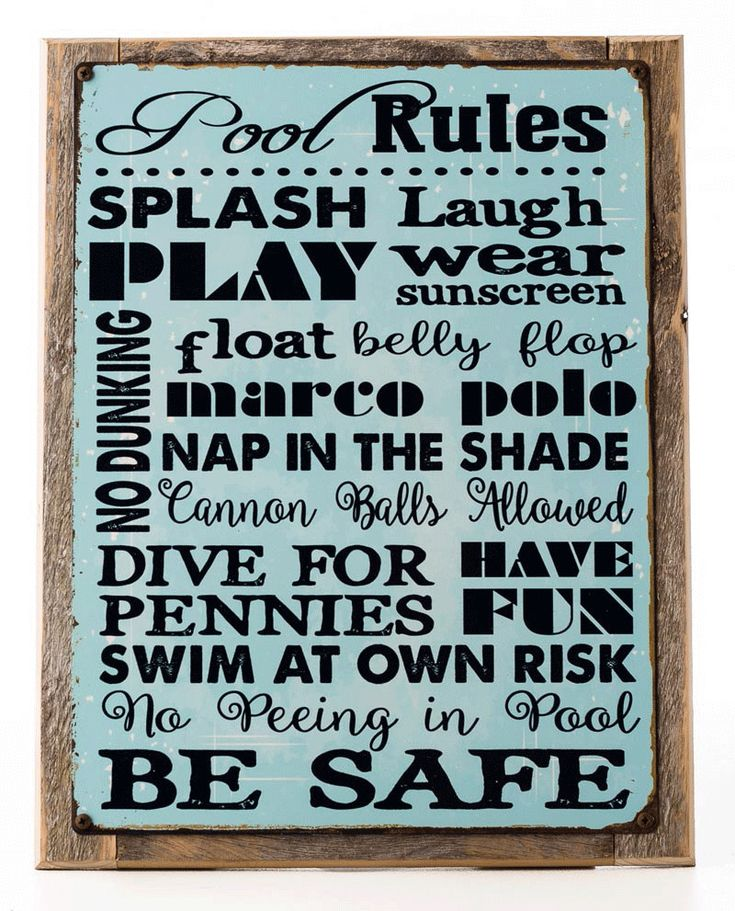 Pool Rules Metal Sign Framed On Rustic Wood, Motivational Rules, Swimming Pool