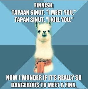Finnish language.. Even i am a finn, i often get confused with the language!