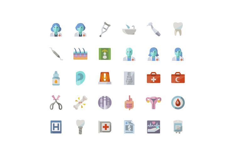 Плоские иконки на медицинскую тему