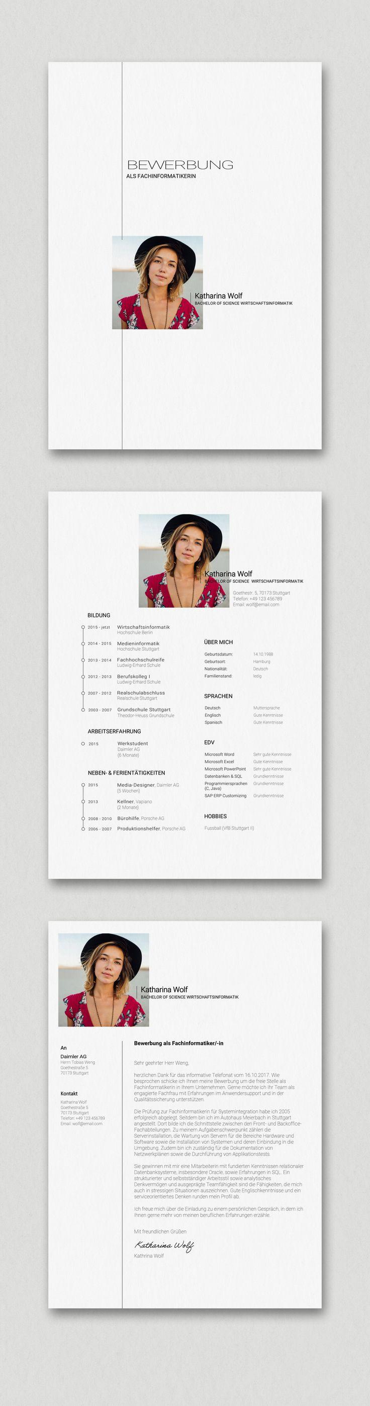 """Etwas schlichter aber dennoch hochwertig und besonders. Unsere Bewerbungsvorlage Katharina Wolf eignet sich durchweg für alle Bereiche. Hier wurde extra auf """"schlichte Kreativität"""" acht genommen. Die kostenlose Google Schriftart Roboto kommuniziert Eleganz und Seriösität. Das Bewerbungspaket enthält Deckblatt (Cover Sheet), Anschreiben (Resume) und Lebenslauf (CV) im Corporate Design. Einfach die beiligenden Schriftarten (Fonts) installieren, die Datei in Microsoft Word öffnen und bearbeiten."""