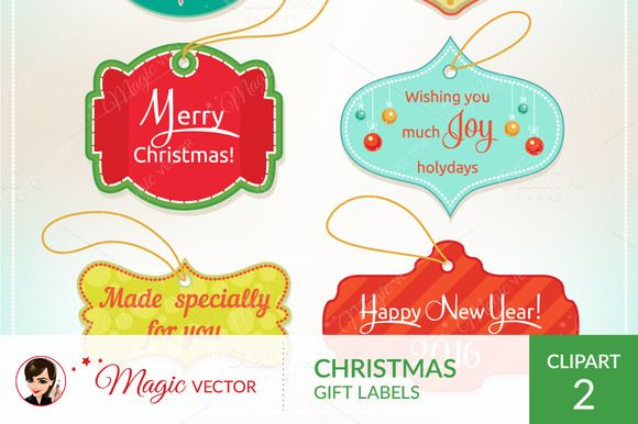 Christmas gift labels by Magicvector on Creative Market