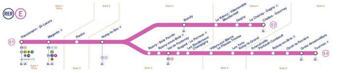 Le plan RER E du métro parisien