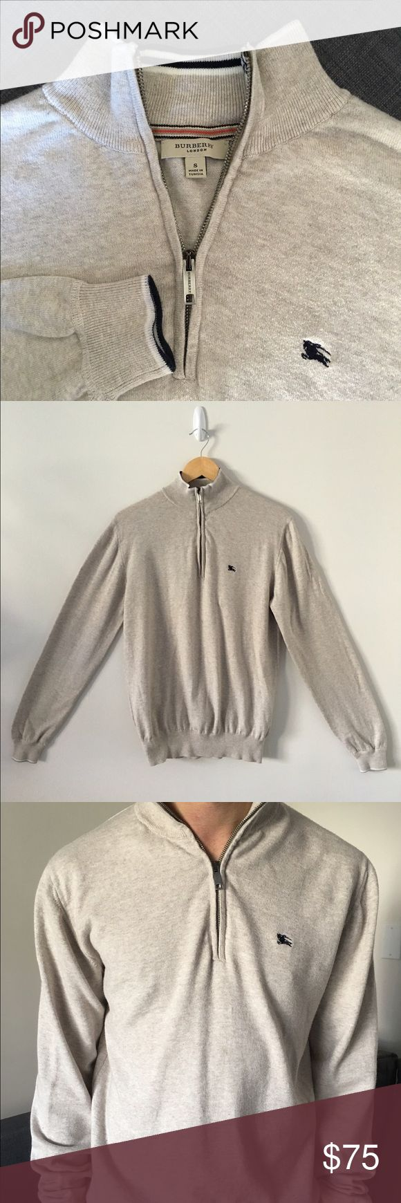 Burberry London Men's Half Zip Sweater Size S Burberry London Men's Half Zip Sweater in Size S.  Half zip sweater in cream with ribbed hems and Burberry logo on left breast. Made from 100% cotton. Lightly worn with no visible wear. Burberry Sweaters Zip Up