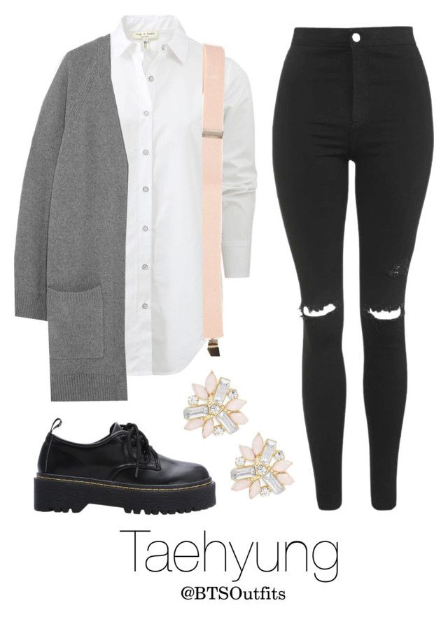 """""""BTS Jap. Ver. Inspired: Taehyung"""" by btsoutfits ❤ liked on Polyvore featuring rag & bone, Topshop and Cara"""