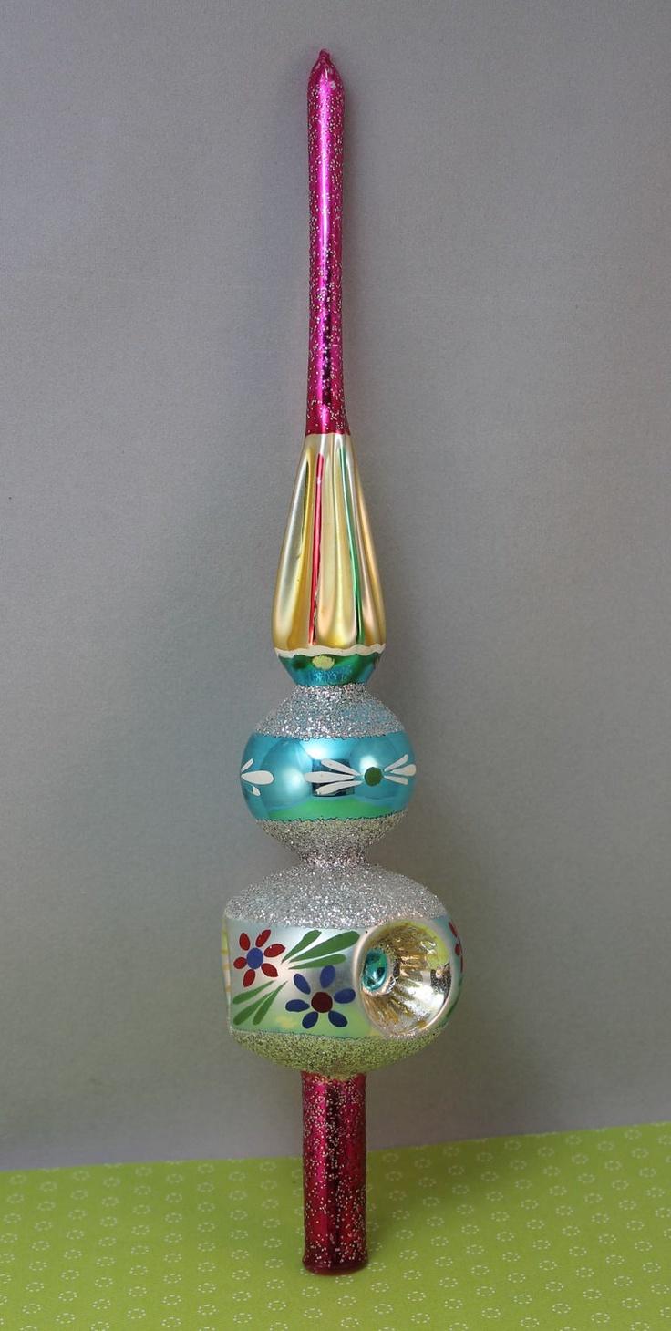 Polish glass ornaments - Tree Topper Christmas Glass Tree Top Santa Land Poland Fuschia
