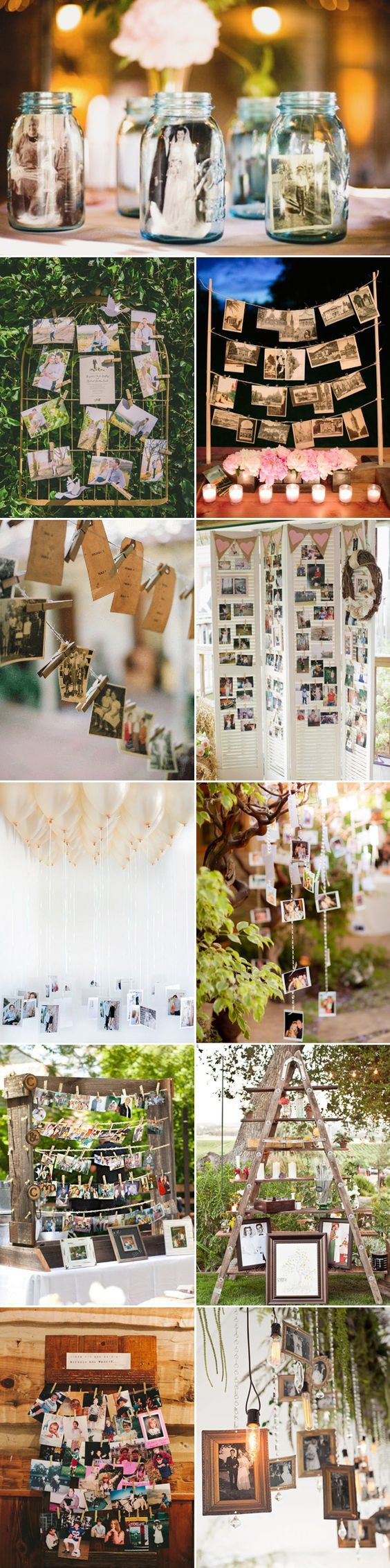 Inspiration for Displaying Photos at your Wedding / http://www.himisspuff.com/ideas-to-display-wedding-photos/
