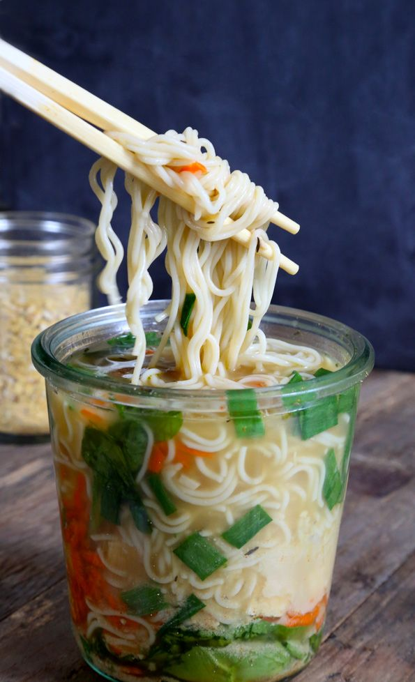 """Gluten Free """"Instant"""" Noodle Cups. I don't really care about making my own bouillon or the gluten free component of this. I just need better lunch ideas."""