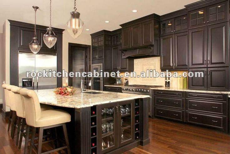 Dark chocolate solid wood kitchen cabinet wood kitchen for Chocolate brown kitchen designs
