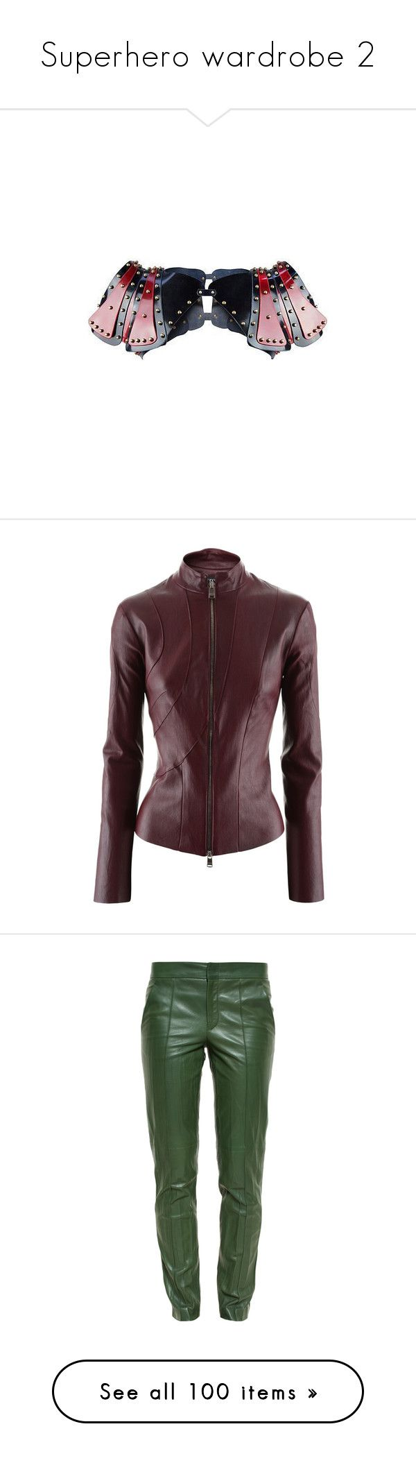 """""""Superhero wardrobe 2"""" by rebellious-ingenue ❤ liked on Polyvore featuring outerwear, jackets, coats, jitrois, brown leather jacket, brown jacket, real leather jackets, leather jackets, pants and trousers"""