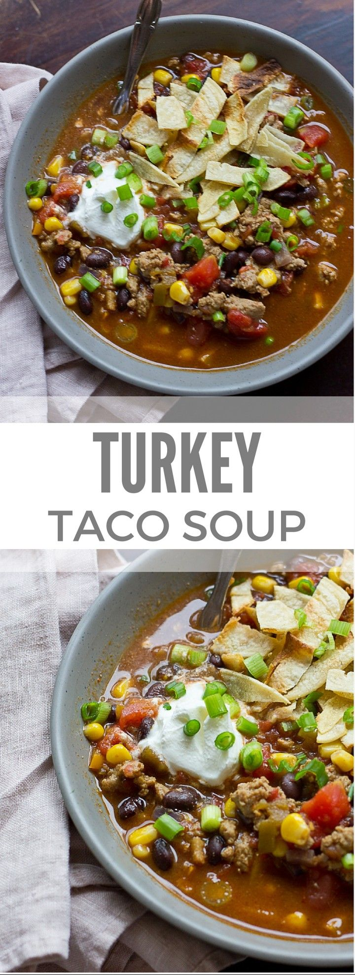 This Turkey Taco Soup is easy peasy to make for a weeknight dinner... a healthy meal the whole family will enjoy. Toss all ingredients into a pot and simmer until you're ready to eat! The toppings are the best part!!