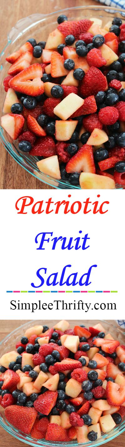 Quick fresh fruit delicious salad! This Patriotic Red White and Blue Fruit Salad is perfect for Memorial Day, 4th of July or a healthy treat anytime of the year!
