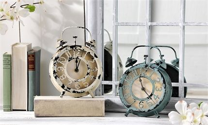 weathered nautical inspired table clock metal & glass, white or blue, battery operated