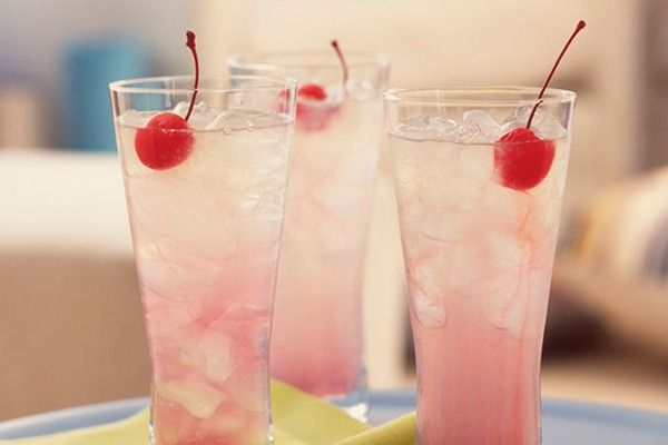 Shirley Temple Drinks: sprite, grenadine (see homemade on about.com by Peggy) and maraschino cherries to taste.