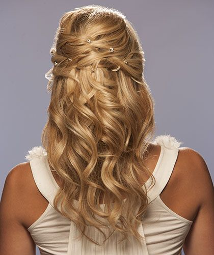 No need for a veil with this perfect beach wedding look! Decorate the back with pinned jewels to match your gown. http://www.hairperfecter.com/wedding-hair-tips/