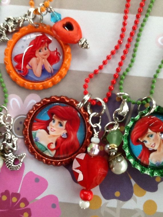 10 Bottle cap necklace Birthday favors Ariel by onlyadreamBoutique