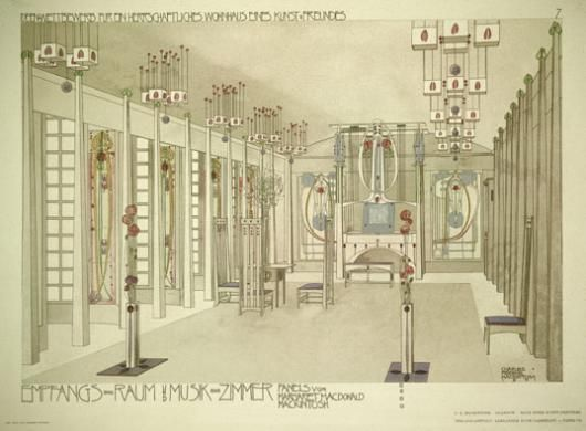 Design For A Music Room With Panels By Margaret Macdonald Mackintosh 1901 Lmina Gicle Por Charles Rennie En AllPosters