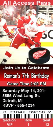 Detroit Red Wings Hockey Theme Birthday Party Invitations Ticket Style Personalized